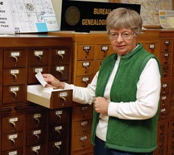 Our card file indexes over 100,000 obituaries and other items.